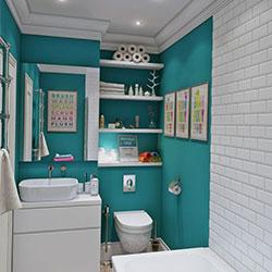 Бели и тюркоазени нюанси в интериора на малката баня