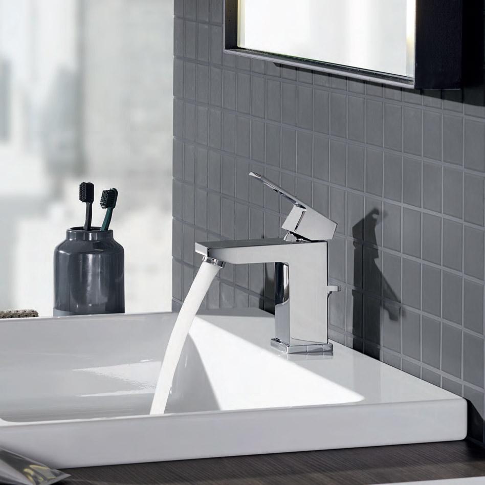 Съвременни смесители за баня с кубичен дизайн от Грое (Германия)